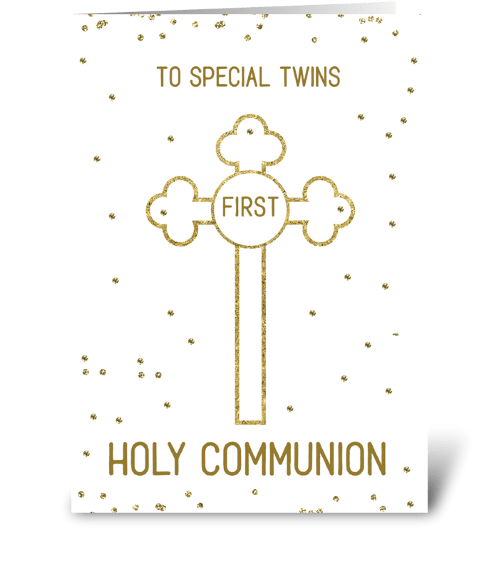 Twins First Holy Communion Gold Look greeting card