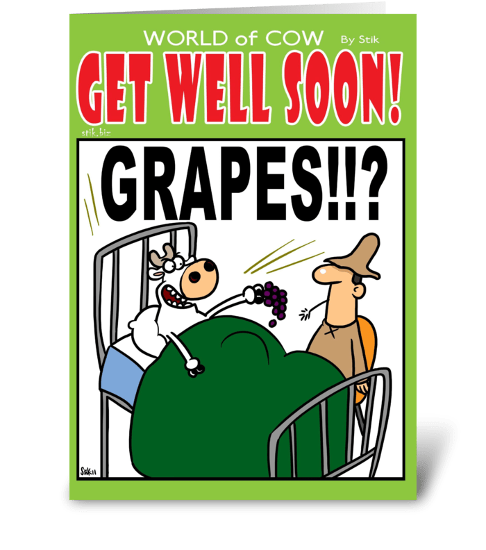 GRAPES! Get well soon! greeting card
