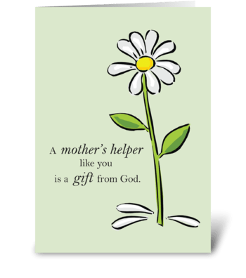 Thank You Mother's Helper, Religious greeting card