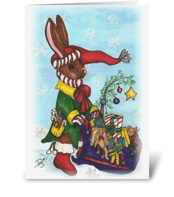 Rabbit's Sled greeting card