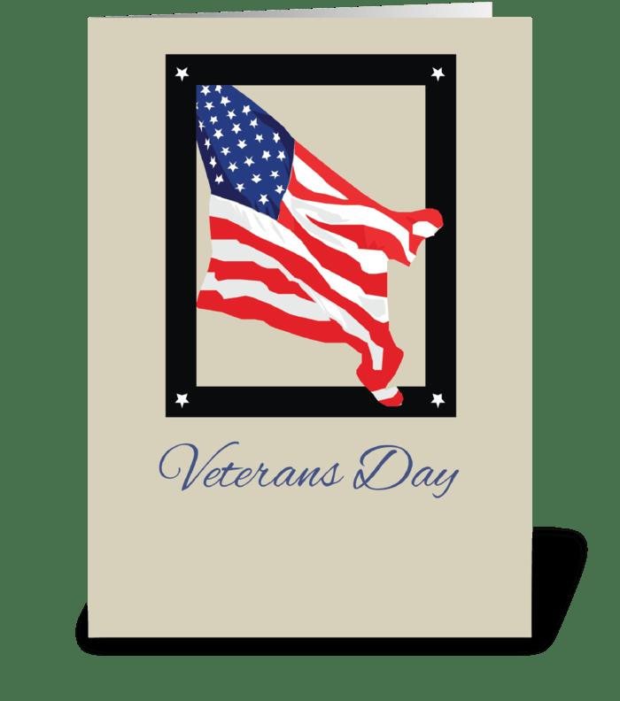 Happy Veterans Day, American Flag, Tan greeting card