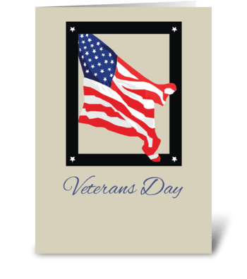 Happy Veterans Day, American Flag, Tan greeting card