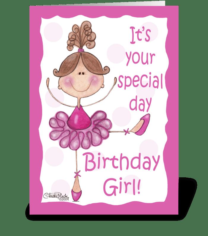 Ballerina for Birthday Girl greeting card