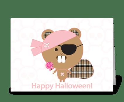 Pirate Beaver Halloween greeting card