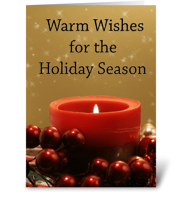Red Candle Holiday Glow greeting card