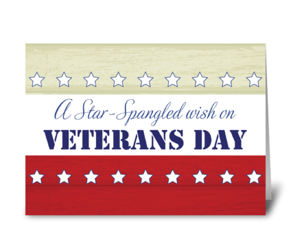 Veterans Day, Star Spangled Wish greeting card