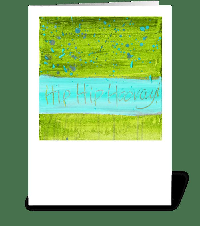 Hip Hip Hooray! - Blue on Green greeting card