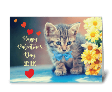 Sister Love Valentine Kitten greeting card