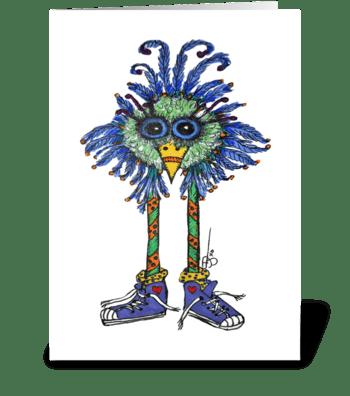 Funky Bird Sneakers greeting card