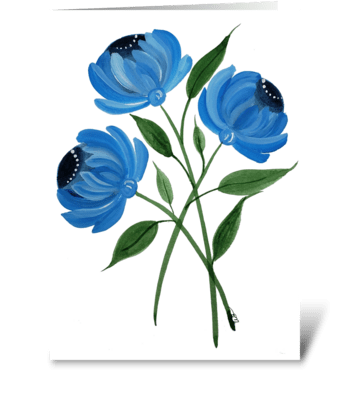 Blue Floral Mum Any Occasion  greeting card