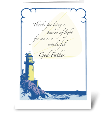 Father's Day for God Father w/ Lighthous greeting card
