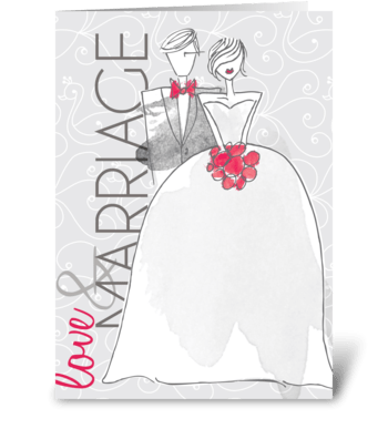 Wedding Grays Love & Married greeting card