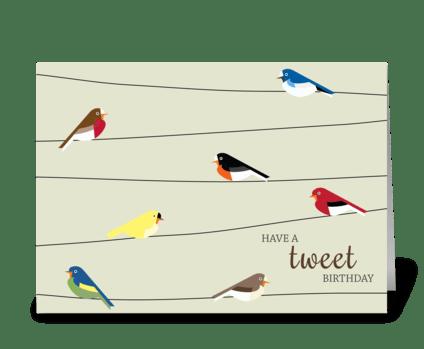 Tweet Birthday greeting card