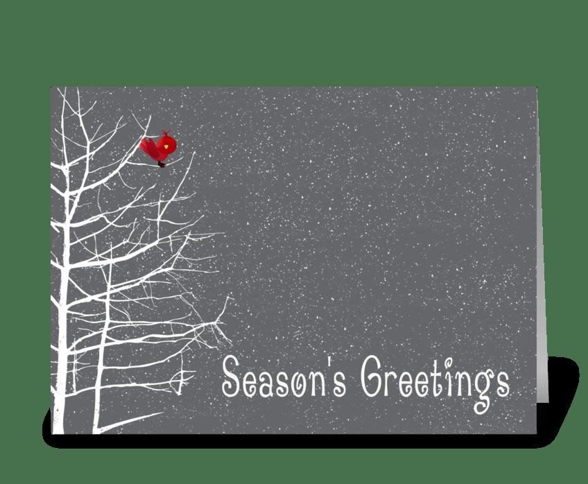 season's greetings white tree red bird  send this