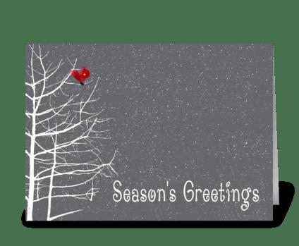 Season's Greetings, White Tree, Red Bird greeting card