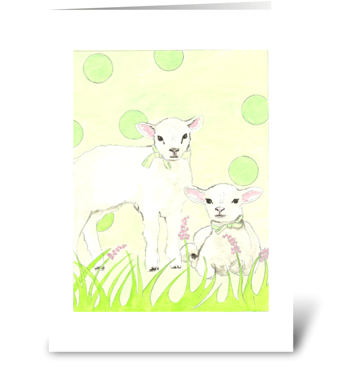 Polka Dot Lambs greeting card