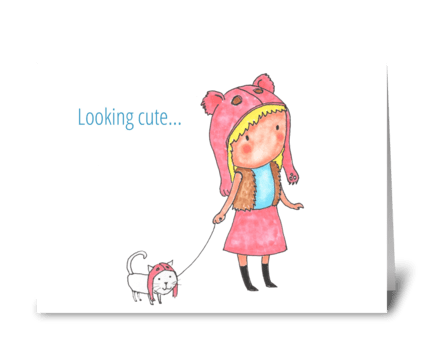 looking cute greeting card