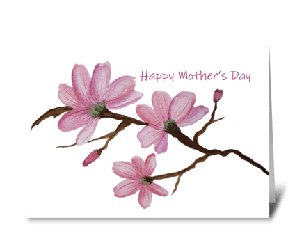 Mother's Day Pink Magnolia Watercolor greeting card