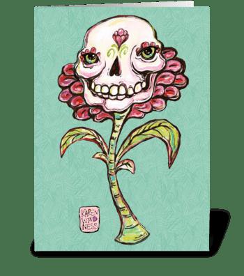 Skull Flower greeting card