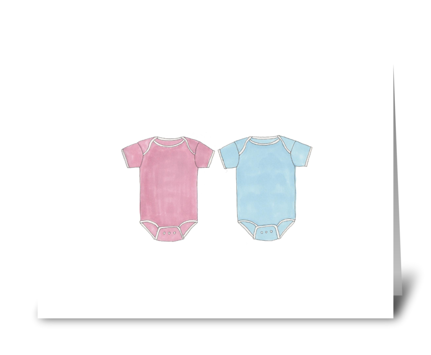 onesies- pink and blue greeting card