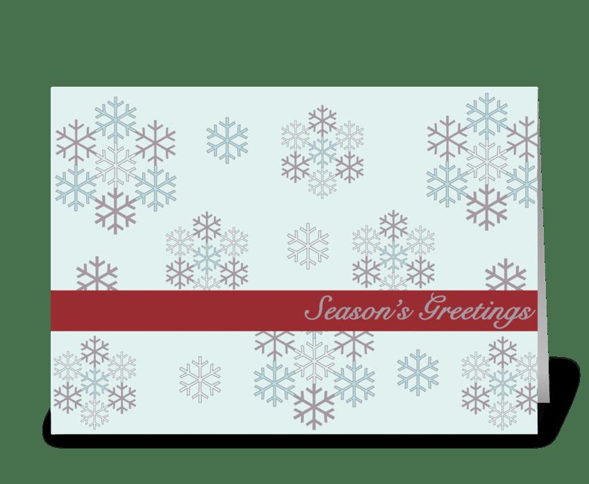 dancing snowflakes greeting card