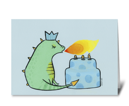 Green and Blue Birthday Dragon greeting card