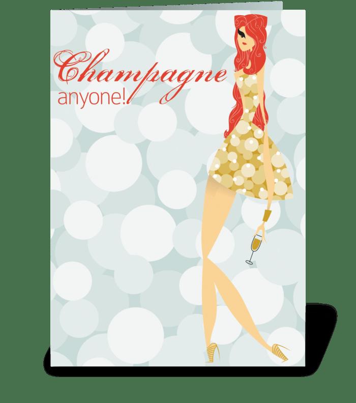 Champagne Birthday greeting card