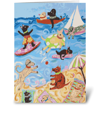 Dogs on the Beach Note Card greeting card