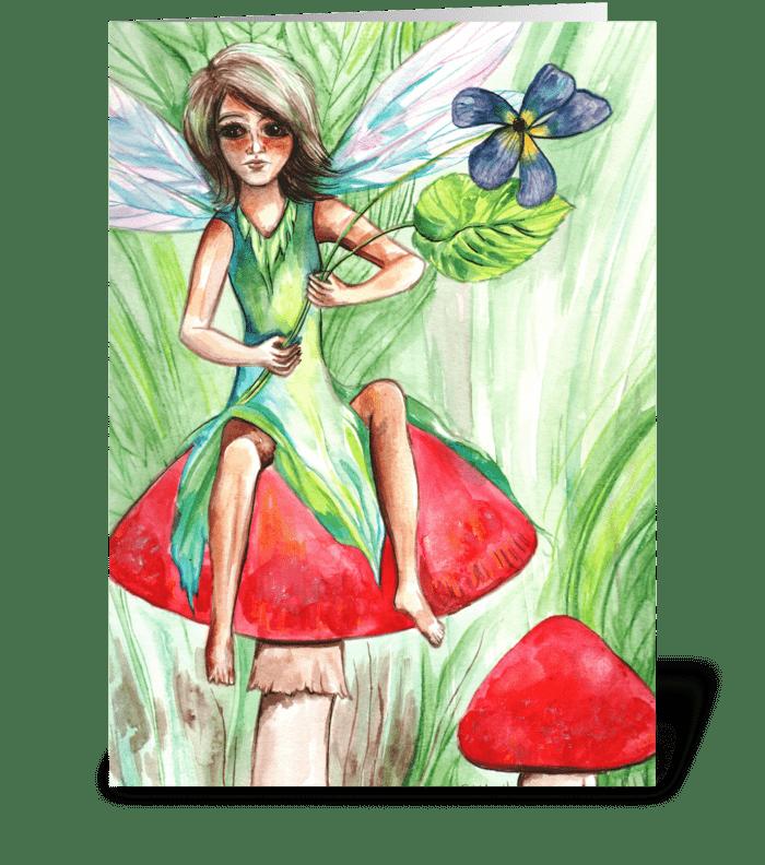 Pixie on a Mushroom greeting card