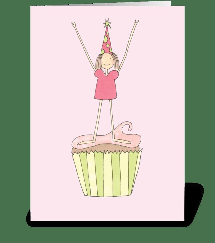 girl cupcake greeting card