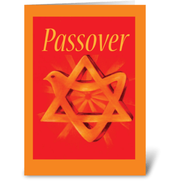 Passover Gold Star of David on Red greeting card