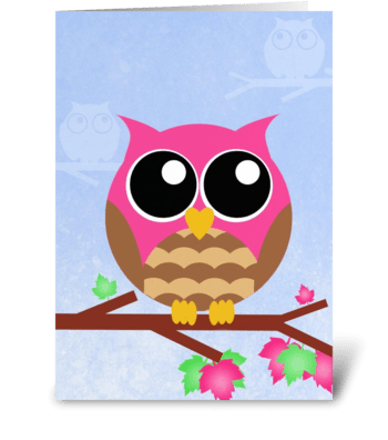 Pink Owl  greeting card