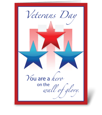 Veterans Day Patriotic Hero Wall of Hero greeting card