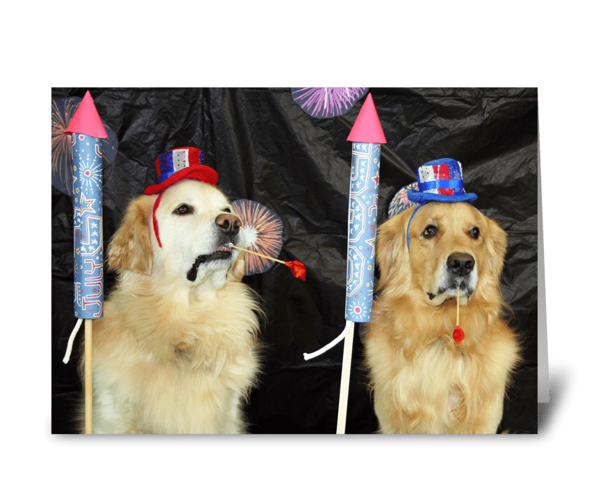 Fireworks for the Fourth greeting card