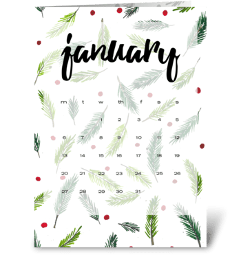 Calendar. January greeting card