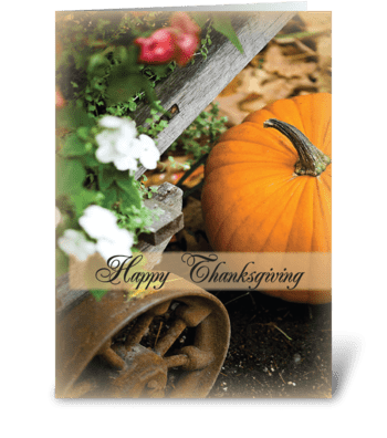 Fall Pumpkin Thanksgiving greeting card