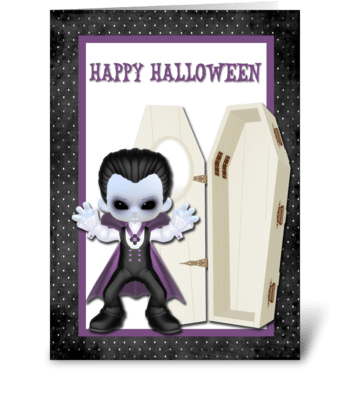 Vampire Boy Halloween greeting card