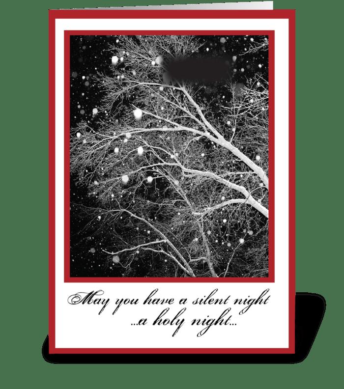 Black & White Religious Christmas Silent greeting card