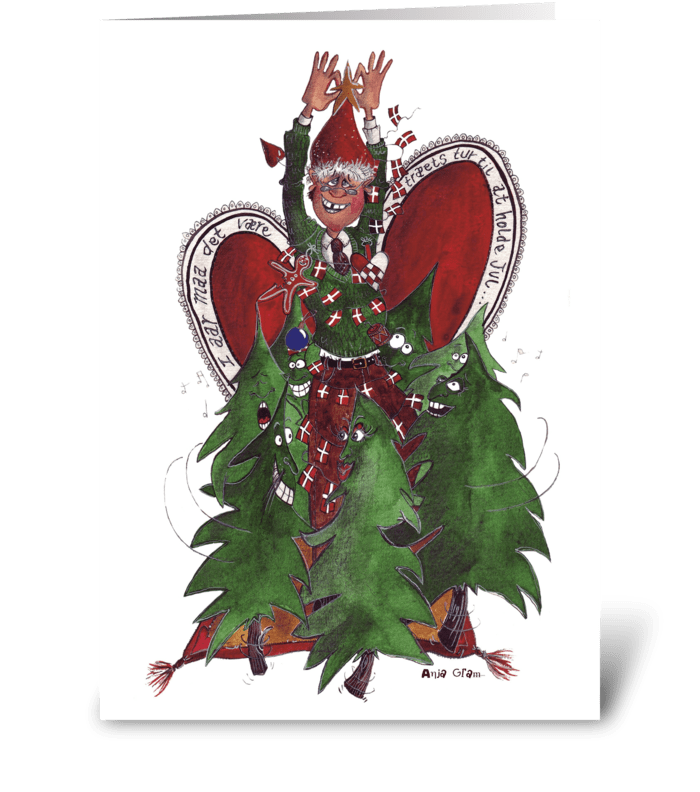 The dancing Christmas trees greeting card