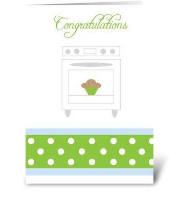 Bun in the oven Green greeting card