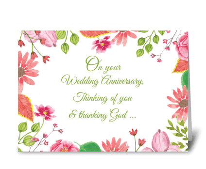 Religious Wedding Anniversary Watercolor greeting card