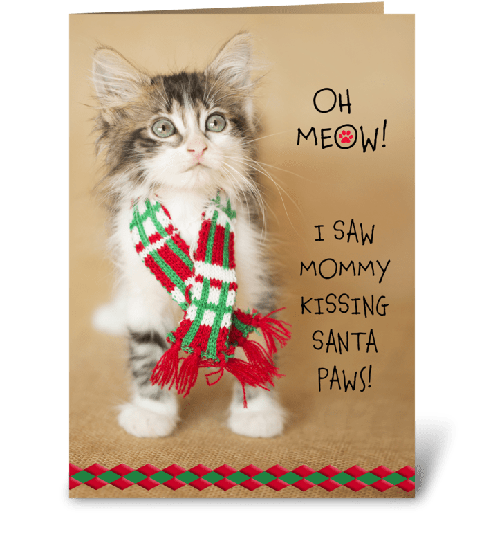I Saw Mommy....  Christmas Kitty greeting card