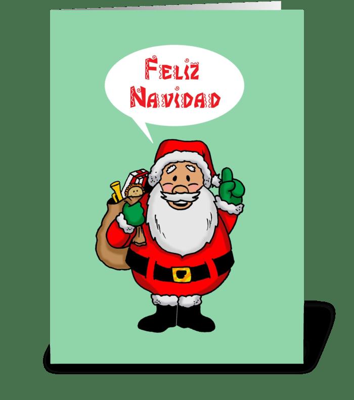 Santa Saying Feliz Navidad greeting card