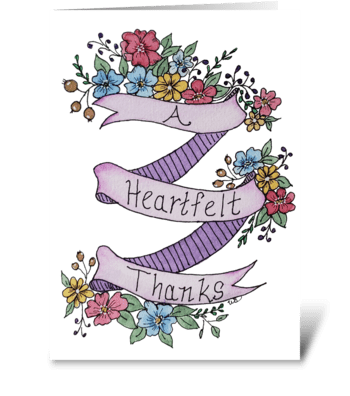 A Heartfelt Thanks Floral Thank You Card greeting card