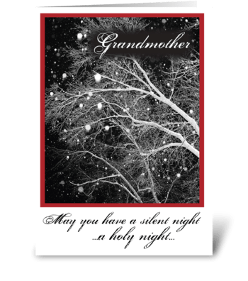 Grandmother, Black & White Christmas greeting card