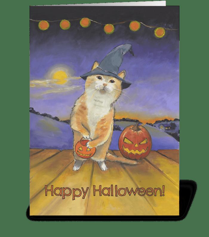 Halloween Cat at Your Door greeting card