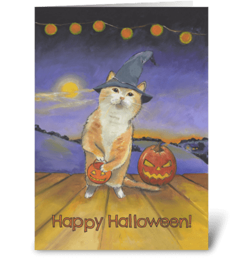 Halloween Cat at Your Door greeting card
