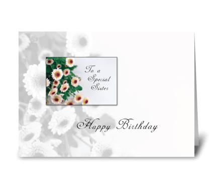Sister Birthday Flowers greeting card