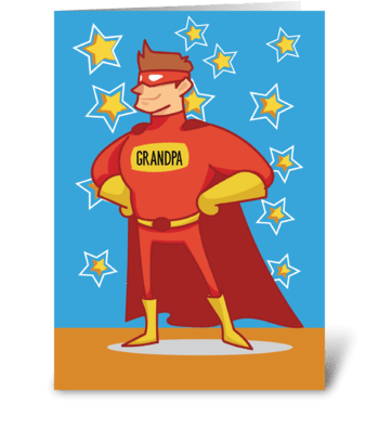 Grandpa Superhero on Father's Day greeting card