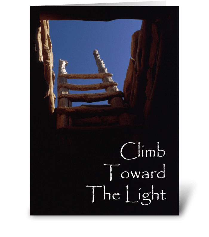 Climb Toward The Light greeting card